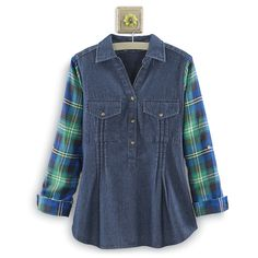 Plaid & Denim Shirt - Unique & Affordable Gifts for Life's Special Moments