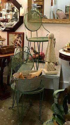 Pair of Green Garden Chairs   $88  Vintage Affection Dealer #1680  White Elephant Antiques 1026 N. Riverfront Blvd. Dallas, TX 75207