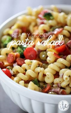 Really Good Pasta Salad recipe packed with flavor and perfect for summer entertaining | Inspired by Charm