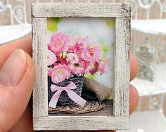 Miniature Dollhouse Framed Painting - Still Life With Eglantines