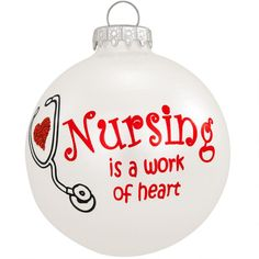 Nursing Is A Work Of Heart Ornament $10.99
