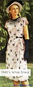 1940s wrap dress (1947) pink and black dress. LOVE this dress. I I'll take the hat too.  #1940s #vintage
