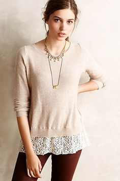 add lace to bottom of sweater