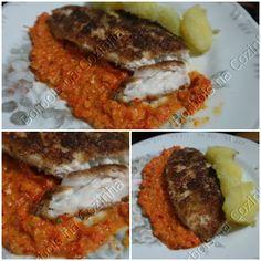 maravilhoso purê de pimentão vermelho peixe empanado e bata doce