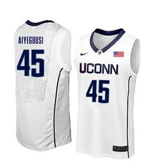 9faaacadfc6 Men Uconn Huskies #45 Temi Aiyegbusi College Basketball Jerseys-White Uconn  Huskies Basketball,