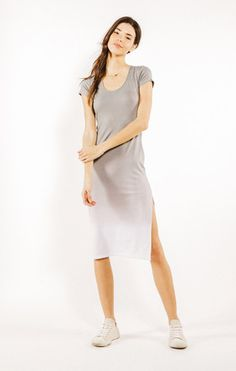 Tilly Midi Dress - Iron Ombre Wash