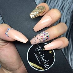 Nude Gold Swarovski Crystal Glossy Press On Nails ($38) ❤ liked on Polyvore featuring beauty products, nail care and nail treatments