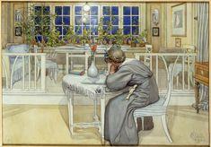 "ARTIST: Carl Larsson ~ ""The night before the departure for England"" 1909 (Swedish) Carl Larsson, Large Painting, Painting & Drawing, Drawing Room, Carl Spitzweg, Art Aquarelle, Swedish Style, Scandi Style, Arthur Rackham"