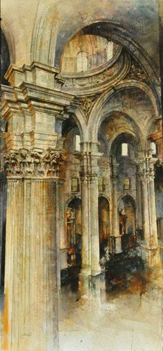 Watercolour. Acuarela. Catedral de Jaén. (Spain) Paco Carrillo Cruz.