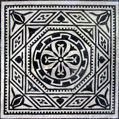 Black and White Ovid Marble Mosaic Panel