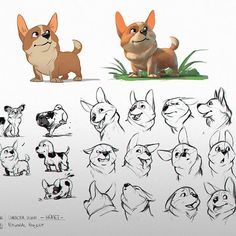 -HEMET- Character of my personal project! My dog also hides among the dogs on the left ❤️ #characterdesign #character #expression #expressions #corgi #hemet #dog #color #project #personalproject #whereIsIelly #story #animation