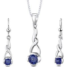 Created Sapphire Pendant Earrings Necklace Sterling Silver Rhodium Nickel Finish -- Read more reviews of the product by visiting the link on the image.