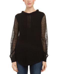 Ella Moss Irina Black Textured Knit Lace Sleeve Sweater
