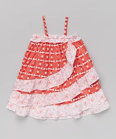 Loving this Red & Orange Floral Ruffle Dress - Infant & Toddler on #zulily! #zulilyfinds