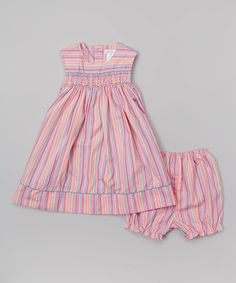 Look what I found on #zulily! Petit Ami Pink Stripe Smocked Dress & Bloomers - Infant by Petit Ami #zulilyfinds