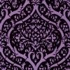 A beautiful Art Deco inspired all over decorative design creating a symmetrical trellis effect. Created in rich velvet touch flock on a lustre background. Shown in the deep purple on pink. Please request sample for true colour and texture. Other colourways available. Paste-the-wall product.