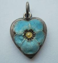 Sterling Pansy Puffy Heart Charm Light Blue Enamel