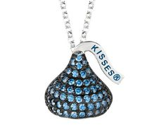 September Birthstone CZ%27s Medium Flat Back Shaped Hershey%60s Kiss Pendant- 16 to 18 Inch Adjustable Chain Included in 925 Sterling Silver