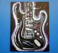 Original Acrylic Guitar Painting Textured by GalleryOffBroadway, $125.00