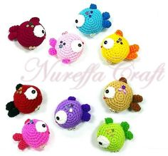 Tiny Colored Fishes - free crochet Pattern