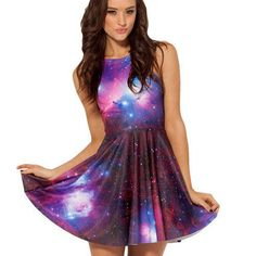 Galaxy Print A-line Tank Short Skater Dress - Oh Yours Fashion - 1