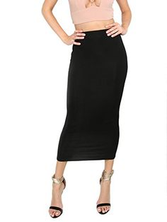68b52c918a MakeMeChic Women s Solid Basic Below Knee Stretchy Pencil Skirt Black S   Size Chart  br XSmall  Length  inch