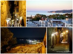 Vieste (Puglia region of Italy) sunset view of the Adriatic Sea from hotel and the old town at night