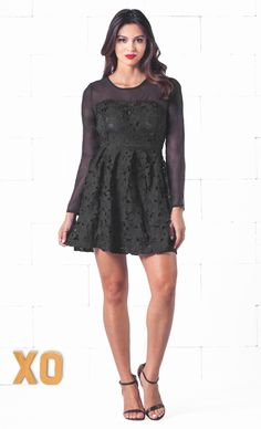 Indie XO Black Scoop Neck Long Sleeve Lace Flower Embroidery A Line Mini Skater Dress - Just Ours!