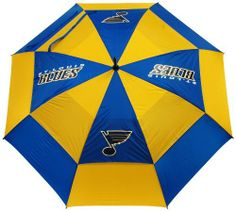 "NHL Saint Louis Blues Umbrella by Team Golf. $23.06. -1. Auto open button. 100-Percent nylon fabric. Double canopy wind protection design. 62"" Umbrella. 4 location imprint and printed sheath. 62"" double-canopy umbrella with multi-colored panels and full color durable imprint. Includes an easy grip molded handle. Withstands strong winds."