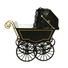 There's something creepy about this empty Victorian baby carriage by Heidi Ott (from Mainly Minis). I fell in love Gothic Baby, Haunted Dollhouse, Dollhouse Miniatures, Vintage Pram, Prams And Pushchairs, Dolls Prams, Baby Buggy, Baby Prams, Hans Christian