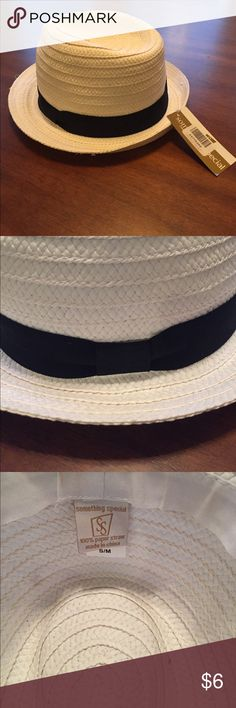 NWT straw fedora with black ribbon NWT straw fedora with black ribbon by Something Special. Made with 100% paper straw. Accessories Hats