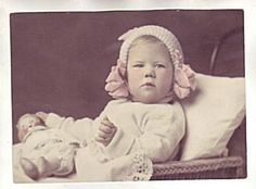 Toy Doll Vintage Hand Tinted Photo Sweet Baby Bonnet | eBay