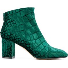 Jean-Michel Cazabat printed round toe booties (1.960 RON) ❤ liked on Polyvore featuring shoes, boots, ankle booties, ankle boots, green, velvet, block heel booties, rounded toe boots, bootie boots and short boots