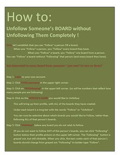 How To:  unfollow a board