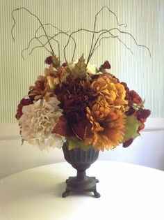 Beautiful Fall Hydrangea Floral Arrangement, Thanksgiving. Faux Hydrangeas, Sunflowers, Twigs, Thistle. Cast Iron Pedestal Vase. Extra Large