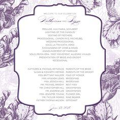 Purple Vintage Wedding Program