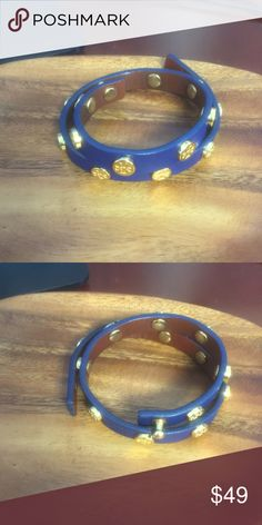 Tory burch royal blue leather gold bracelet. Great condition. 100% authentic Tory Burch Jewelry Bracelets