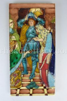 Charlotte Rhead tube-lined tile depicting 'The Arming of Christian', taken from an illustration by GW Rhead, 30 x 15cm - £1,400