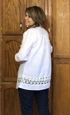 Crochet Detail Button Front Split Neck White Blouse | modlily.com - USD $29.25 Fringe Sweater, Fashion Online, Buttons, Detail, Crochet, Blouse, Sweaters, Women, Hipster Stuff