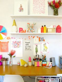 Desk against wall Fun Colors & Shelves