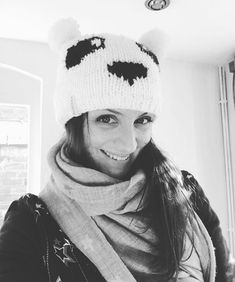Fenella Smith Panda and Bamboo range - Fenella modelling her Panda hat.
