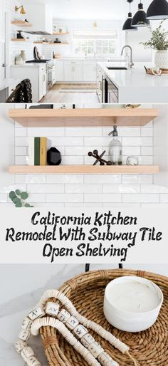 California Kitchen Remodel With Subway Tile & Open Shelving - Rustic Farmhouse Ideas