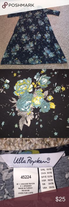 Beautiful Floral Dress!!! Navy background.  Turquoise grey mustard cabbage roses!  3/4 sleeves - round neckline. Approx 35 inches from waist gathered drop waist!   Great dress very comfortable.  Suitable in the spring with sandals or fall with boots & scarf!!!   👢👠😄 Ulla Popken Dresses Maxi