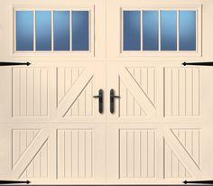 "Amarr garage door. Collection: Classica® Panel: Lucern Windows: Thames Color: Almond Insulation: Classica 1000 Handle: Alpine 11"" Handles and Blue Ridge 16"" St..."