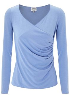 Armani Collezioni light blue jersey top  Ruched wrap effect front Slips on  48% viscose, 47% polyester, 5% elastane