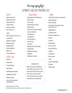 College Packing Checklist What To Bring To Your Dorm Room  The