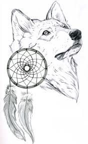 Wolf with dream catchers