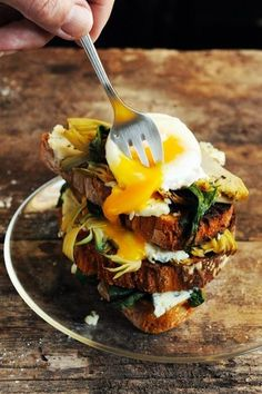 RoquefortCroquette (egg, Spinach,Artichoke & Roquefort Toast Stack)