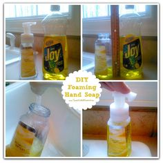 DIY Foaming Hand Soap -Tried it and it really works! Now I can reuse all my empty Bath and Body Works foam soap containers! Never buying hand soap again! Diy Cleaning Products, Cleaning Solutions, Cleaning Hacks, Homemade Products, Cleaning Recipes, Cleaners Homemade, Diy Cleaners, Mousse, E Mc2
