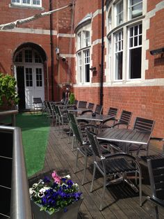 The decking area, the perfect place to unwind and enjoy the sunshine  Morgans Hotel, Swansea